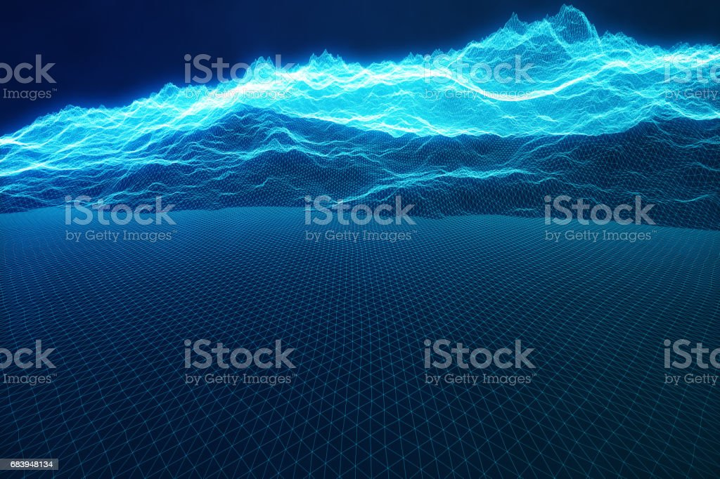 3D illustration concept internet connections in cloud computing. Cyberspace landscape grid. 3d technology. Abstract blue landscape on black background with light rays. vector art illustration