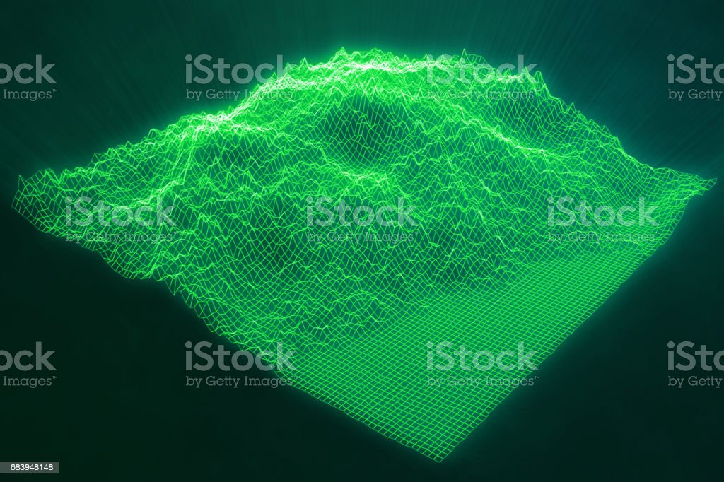 3D illustration concept internet connections in cloud computing. Cyberspace landscape grid. 3d technology. Abstract green landscape on black background with light rays. vector art illustration