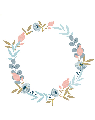 Illustration design of a wreath of leaves and pink eucalyptus flowers. Drawn by hand, in the center and place for text on a white background. For creating cards,invitations, wedding designs and greeting