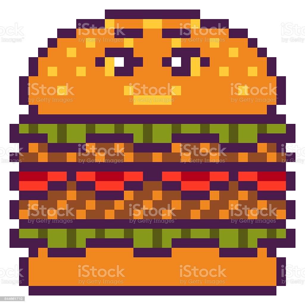 Conception Pixel Art Hamburger Illustration Vecteurs Libres