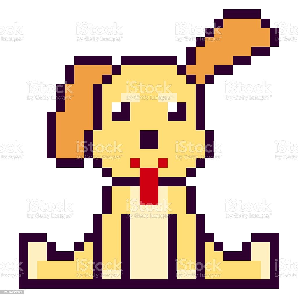 Illustration Conception Pixel Art Chien Vecteurs Libres De