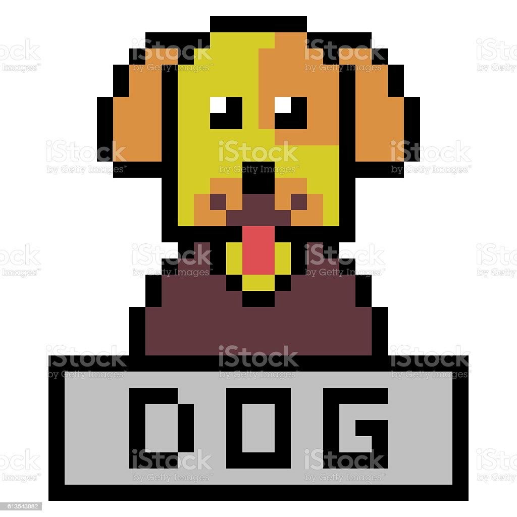 Illustration Design Pixel Art Dog Stock Illustration