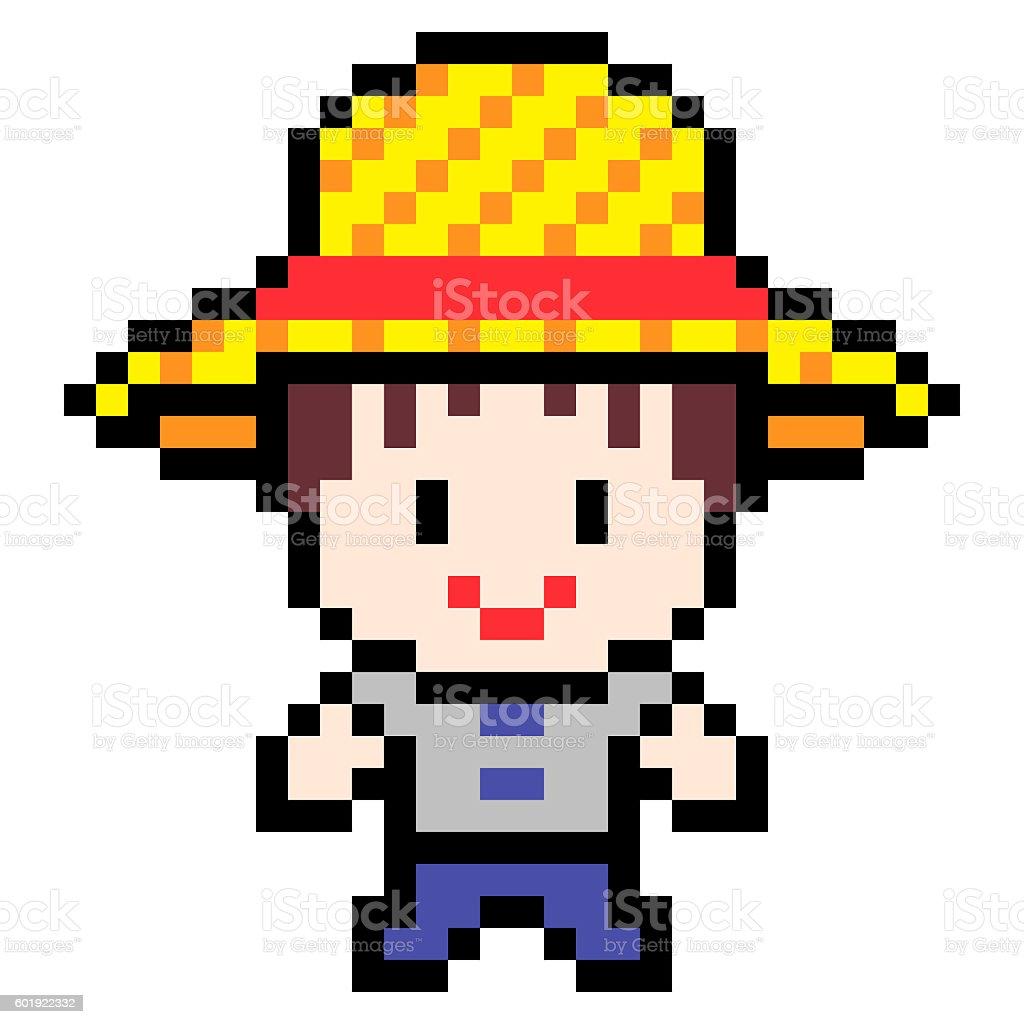 Pixel Art Design : Illustration design pixel art farmer cliparts vectoriels