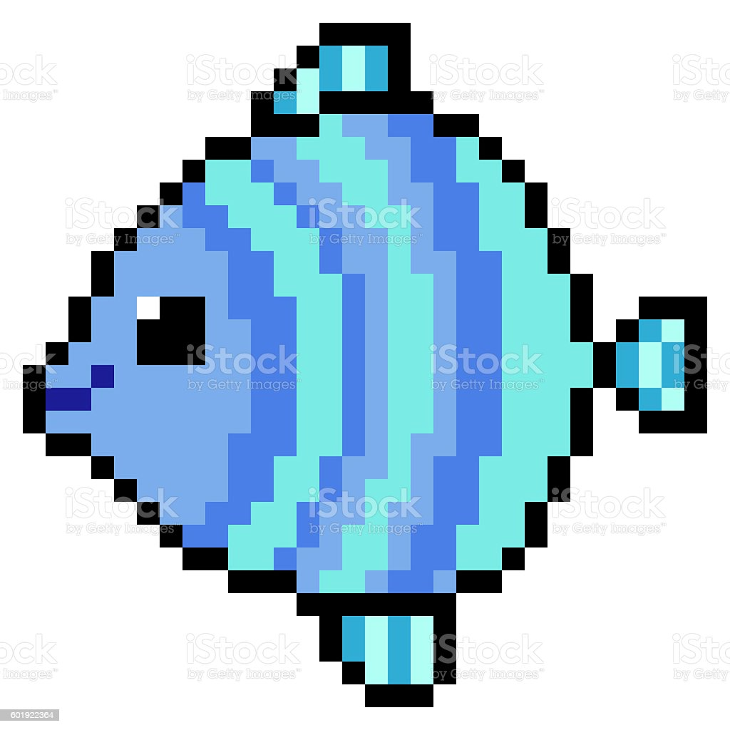 Illustration Design Pixel Art Fish Stock Vector Art & More Images of ...