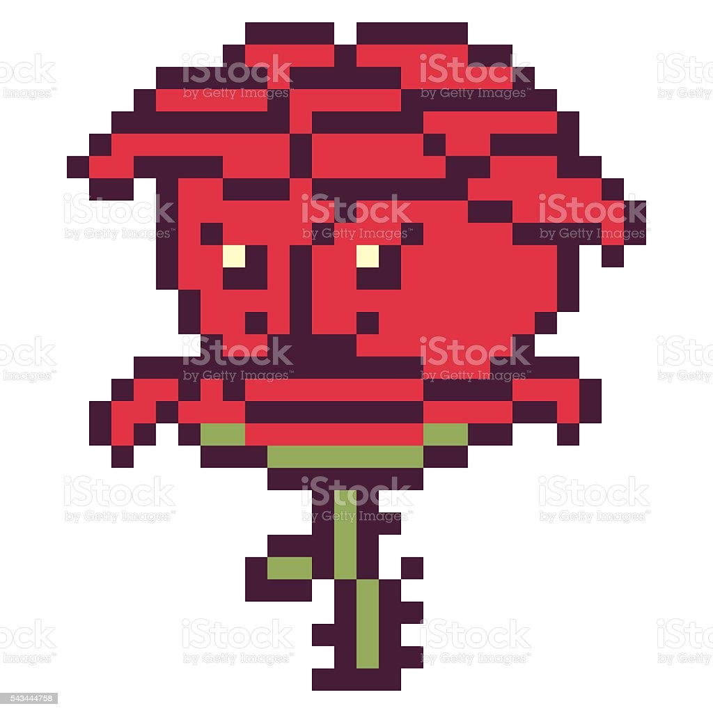 Illustration Design Pixel Art Flower Rose Stock Illustration Download Image Now Istock