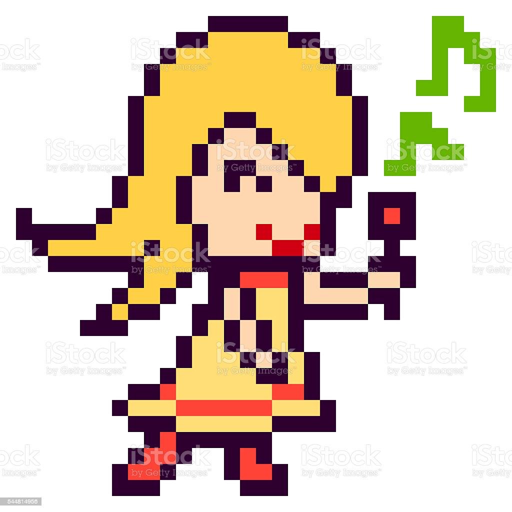 Illustration Design Pixel Art Sing