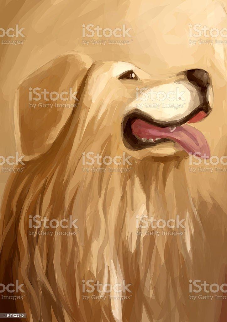Illustration Digital Painting Dog Golden Retriever Stock Vector Art