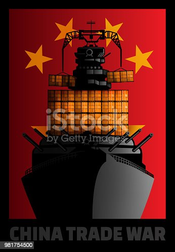 Illustration of cargo ship with military weapons.
