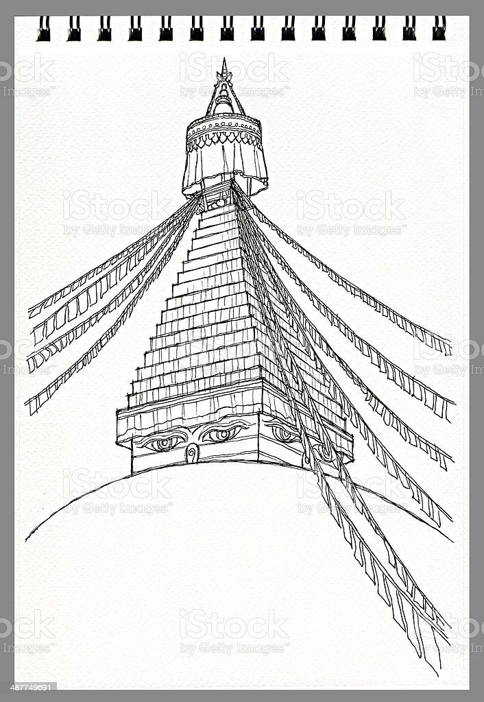 illustration freehand drawing of Boudhanath Buddhist Temple, Kathmandu, Nepal illustration freehand drawing architecture  of Boudhanath Buddhist Temple, Kathmandu, Nepal Antique stock illustration