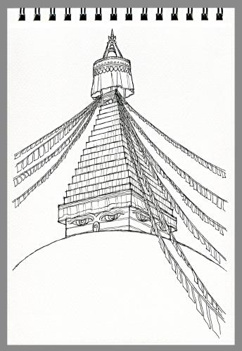 Illustration Freehand Drawing Of Boudhanath Buddhist Temple Kathmandu Nepal Stock Illustration - Download Image Now