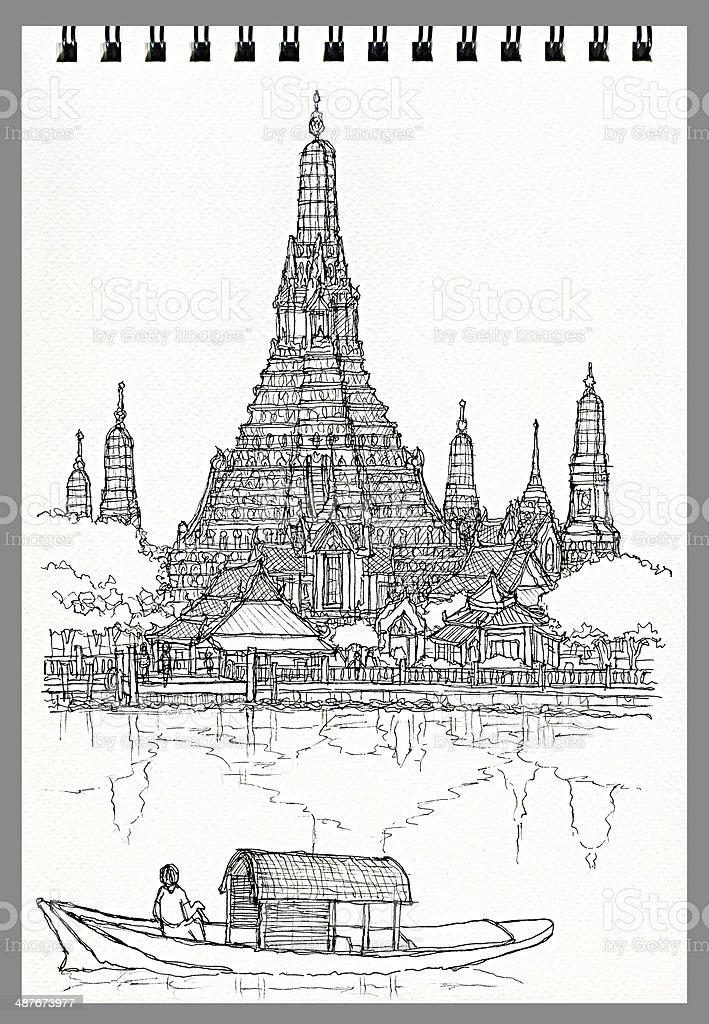 Illustration Freehand Zeichnung Von Wat Arun Ratchawararam Bangkok Tha...