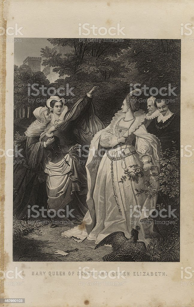 Illustration, From 1875, Mary Queen of Scots Confronting Elizabeth I royalty-free stock vector art