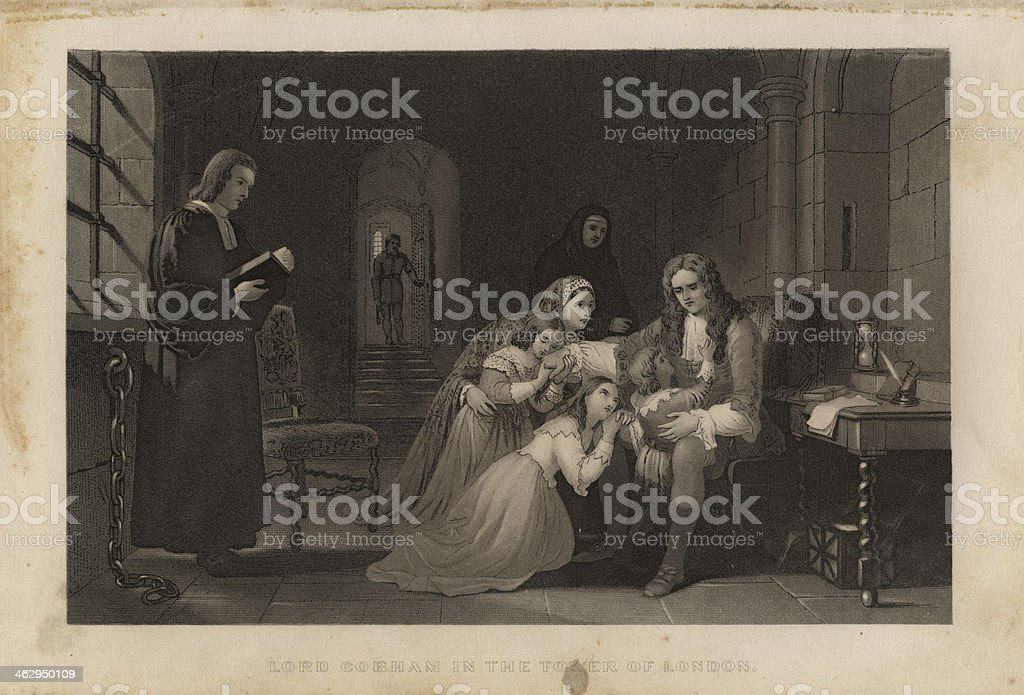Illustration, From 1875, of Exiled Man Being Comforted By Family royalty-free stock vector art