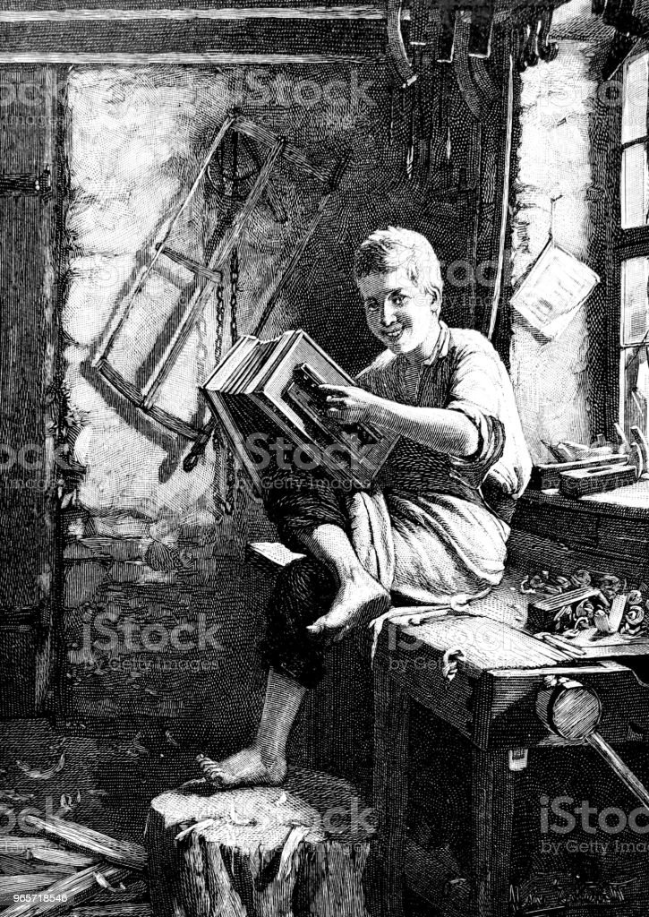 Apprentice in the carpentry workshop plays accordion - Royalty-free 1890-1899 stock illustration