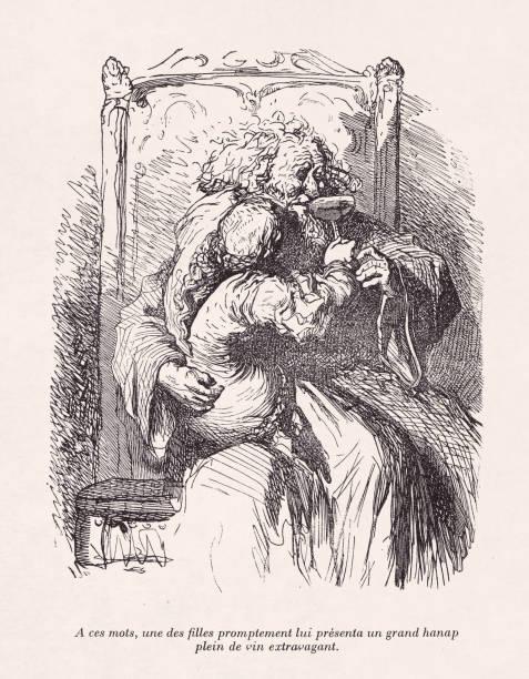 Illustration from the works of Rabelais vector art illustration