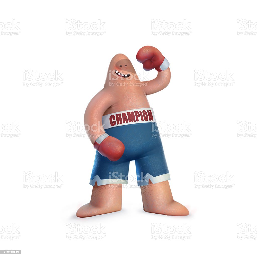 illustration funny cartoon character, boxer, boxing champion vector art illustration