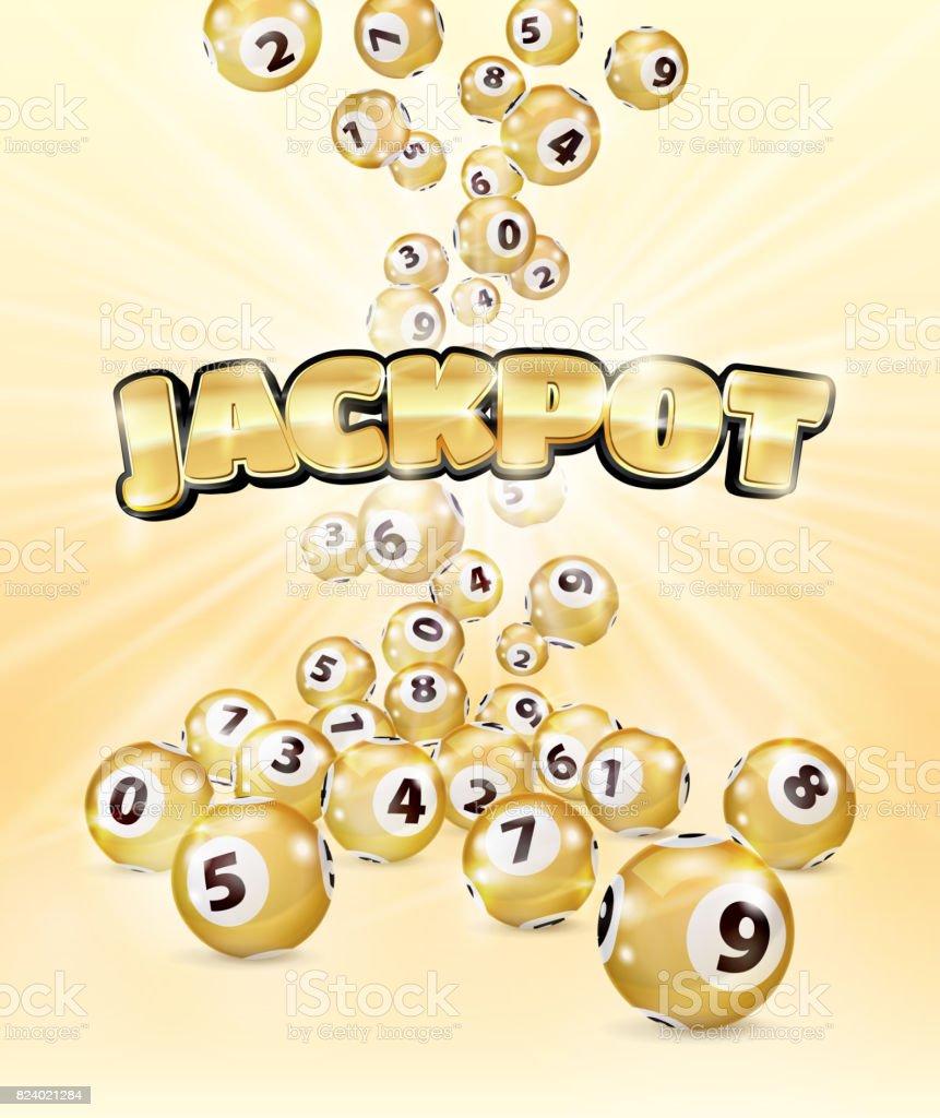 Bolas del Bingo Golden ilustración caen al azar - ilustración de arte vectorial