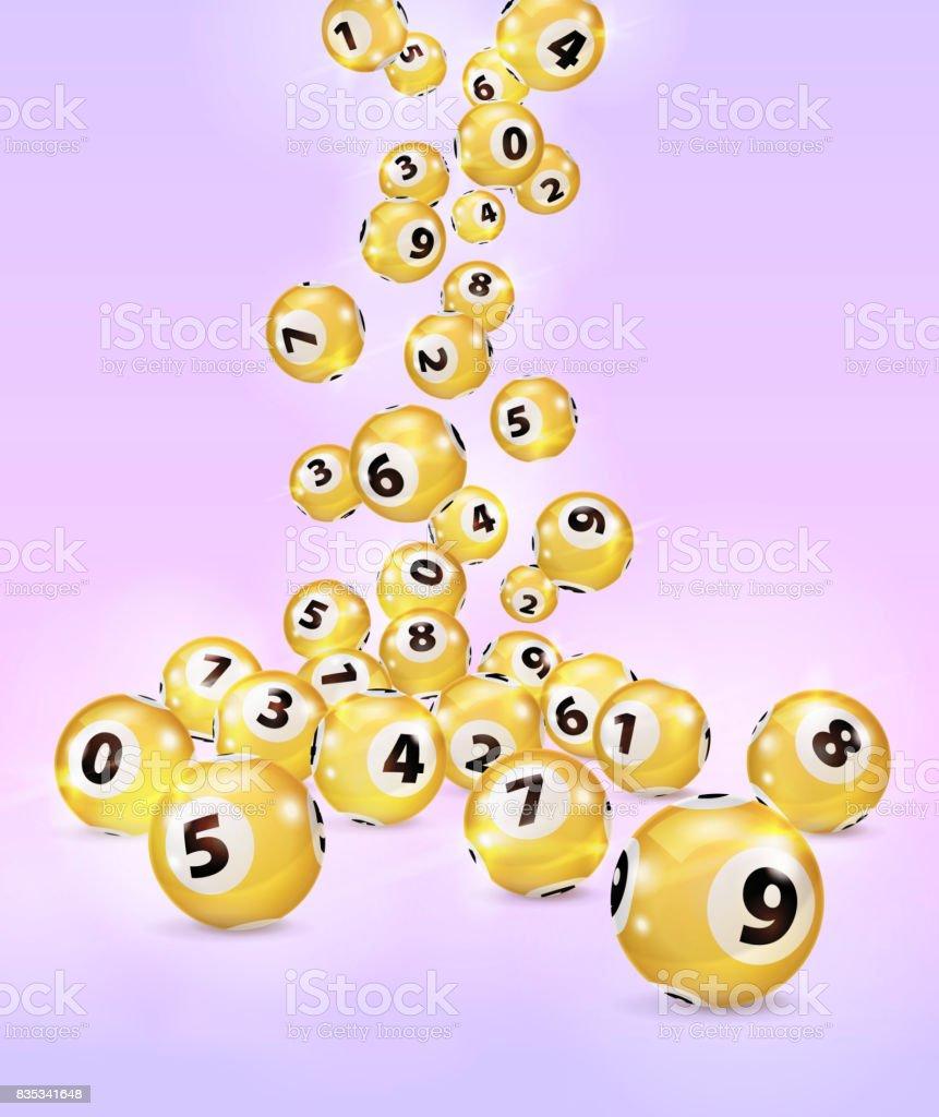 Bolas del Bingo Golden ilustración caen al azar. - ilustración de arte vectorial
