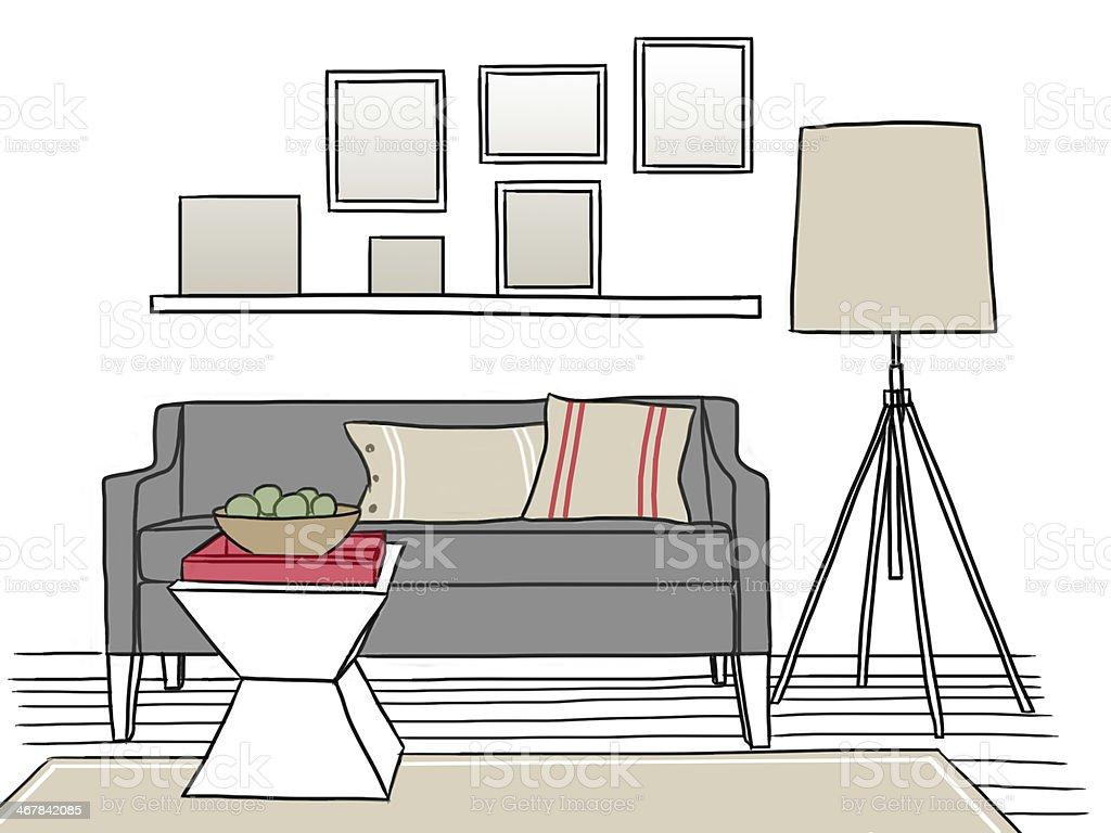 Ilustraci n dibujo a mano dise o interior de sala de estar for Sala de estar dibujo