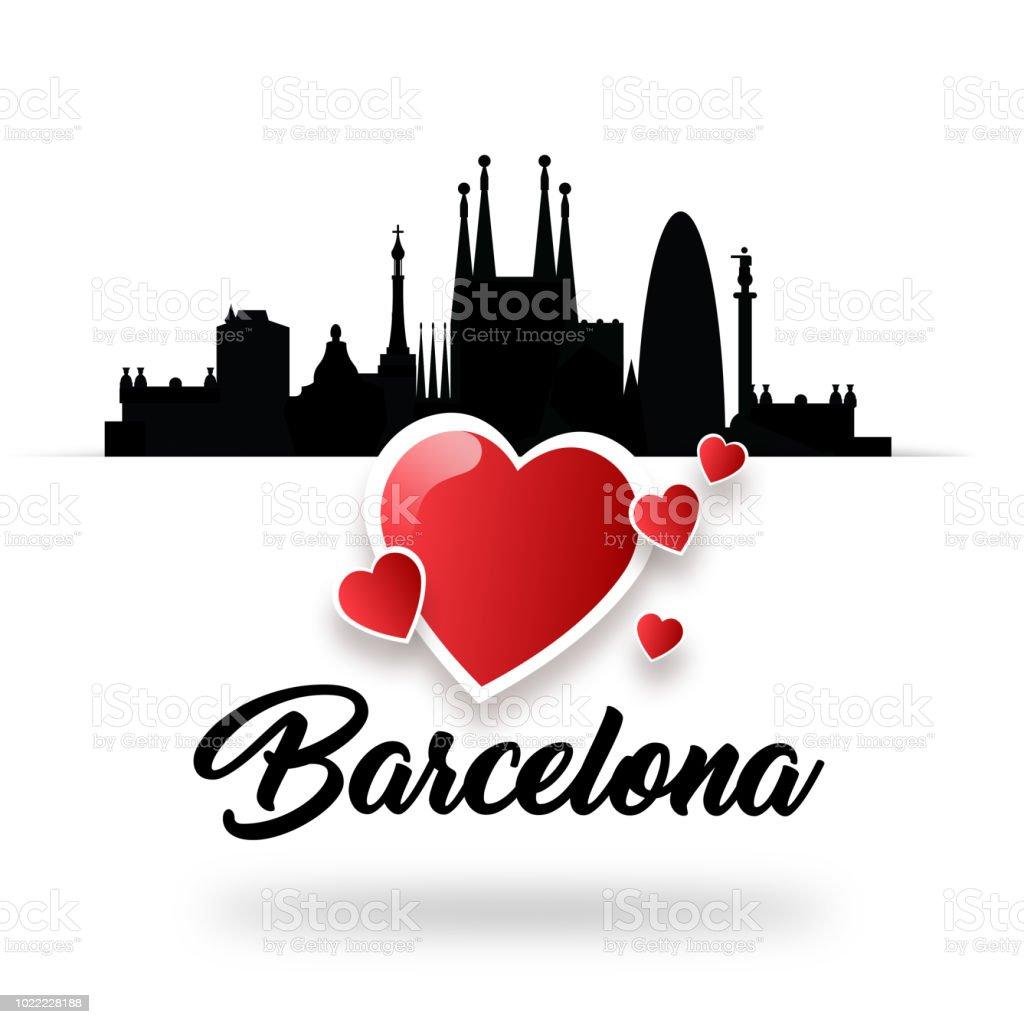 illustration i love barcelona spain greeting card for graphic design