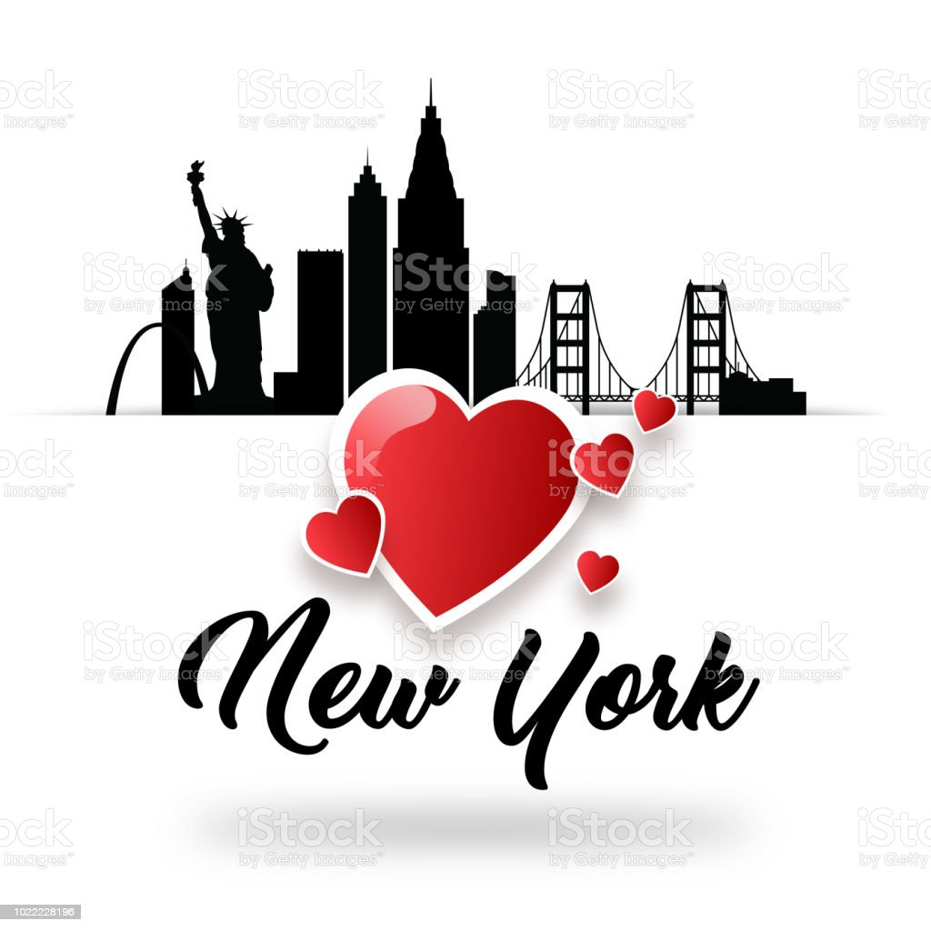 Illustration I Love New York America Greeting Card For Graphic