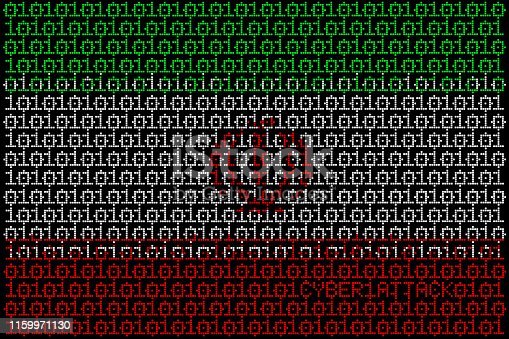 Illustration set of flags made from binary code targets.