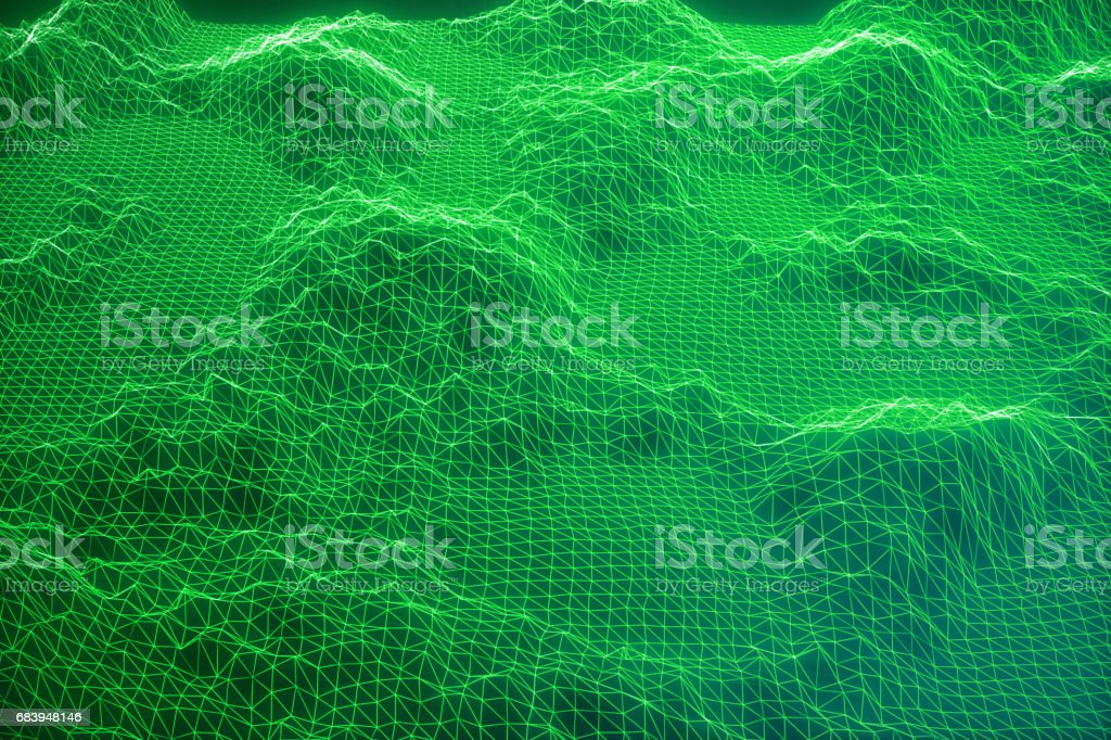 3D illustration internet connection, abstract sence of science and technology. Concept image cyberspace landscape grid. vector art illustration