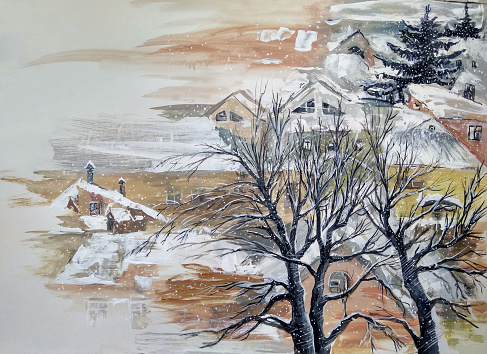 Fashionable winter illustration modern art allegory of New Year's holiday my original oil painting on canvas impressionism fantasy symbolic horizontal cityscape street winter trees and houses snow-covered sky against the background of falling snowflakes sun rays and sky