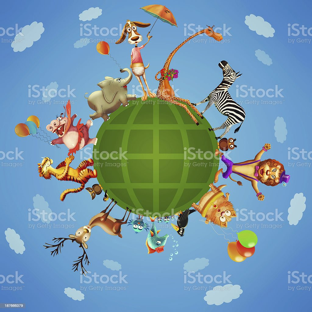 Illustration of a animal planet royalty-free stock vector art