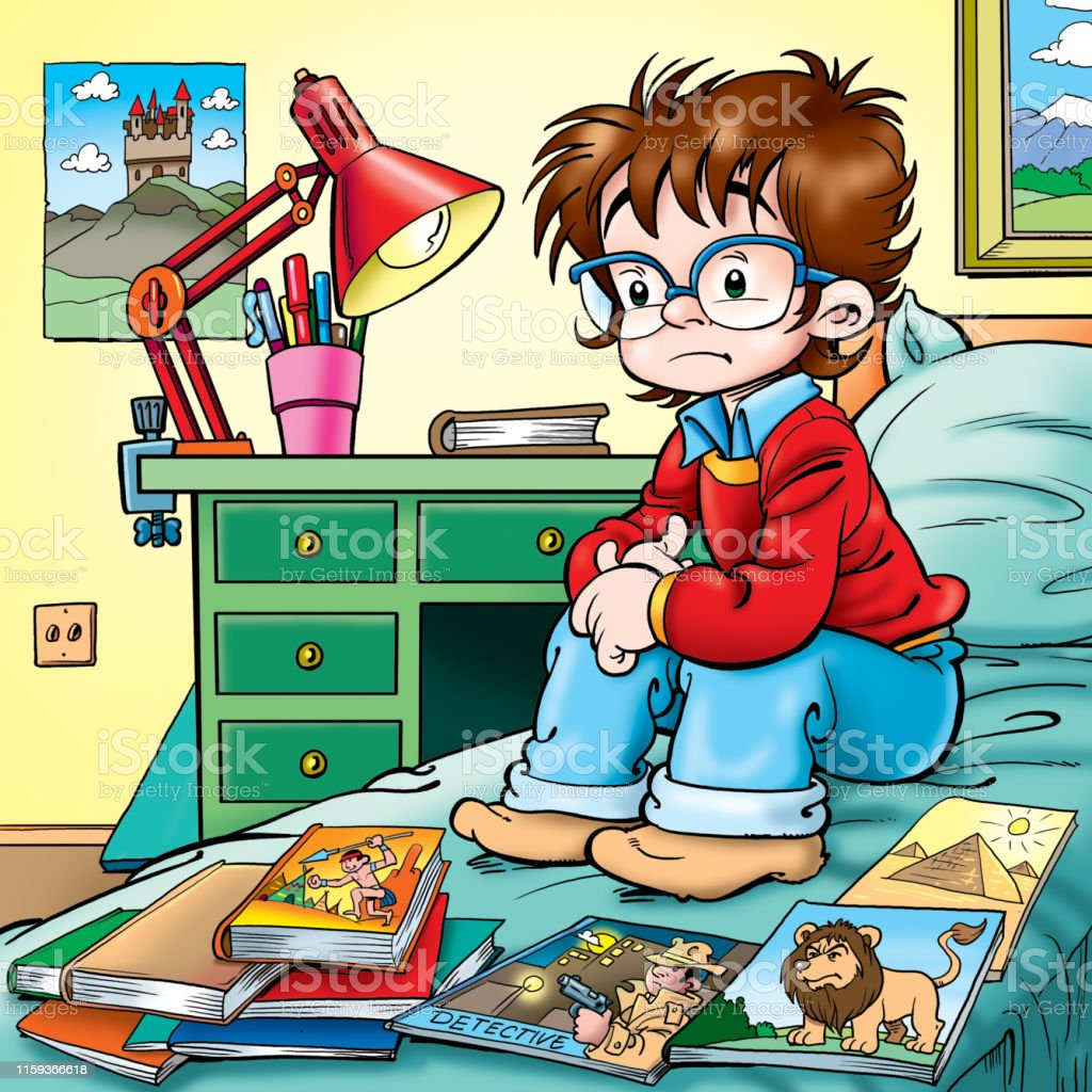 illustration of a bored little boy with books