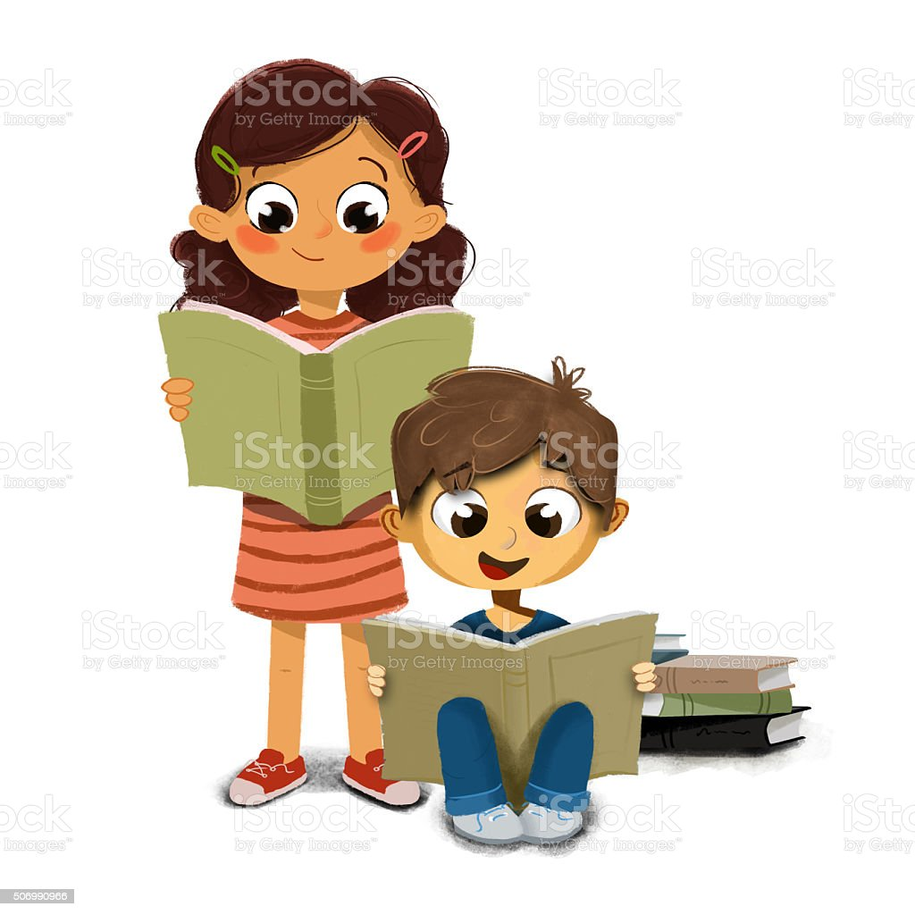 Illustration of a Boy and girl reading a book vector art illustration