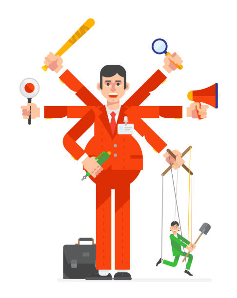 Illustration of a businessman in a flat style. Director of project manager. Head of department. Office manager. vector art illustration