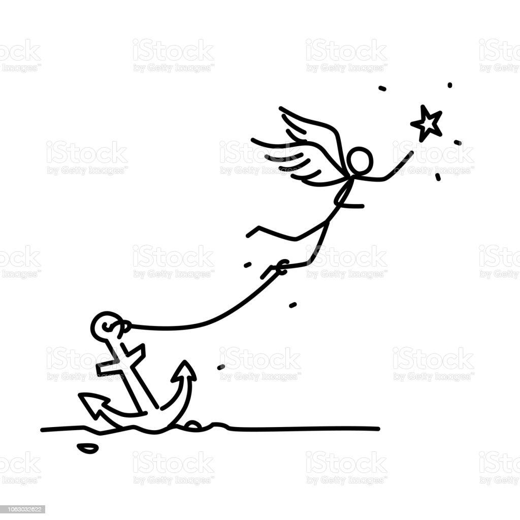 星の後ろ側を飛んでチェーン天使のイラストベクトルアンカーにチェーンの