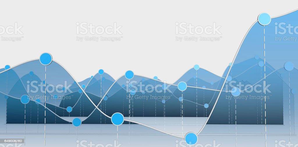 3D Abbildung einer Kurve Diagramm oder Line-Grafik – Vektorgrafik