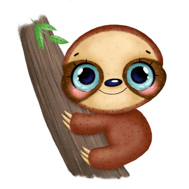 illustration eines niedlichen cartoon baby faultier mit großen augen sitzen auf einem baum - faul ast stock-grafiken, -clipart, -cartoons und -symbole