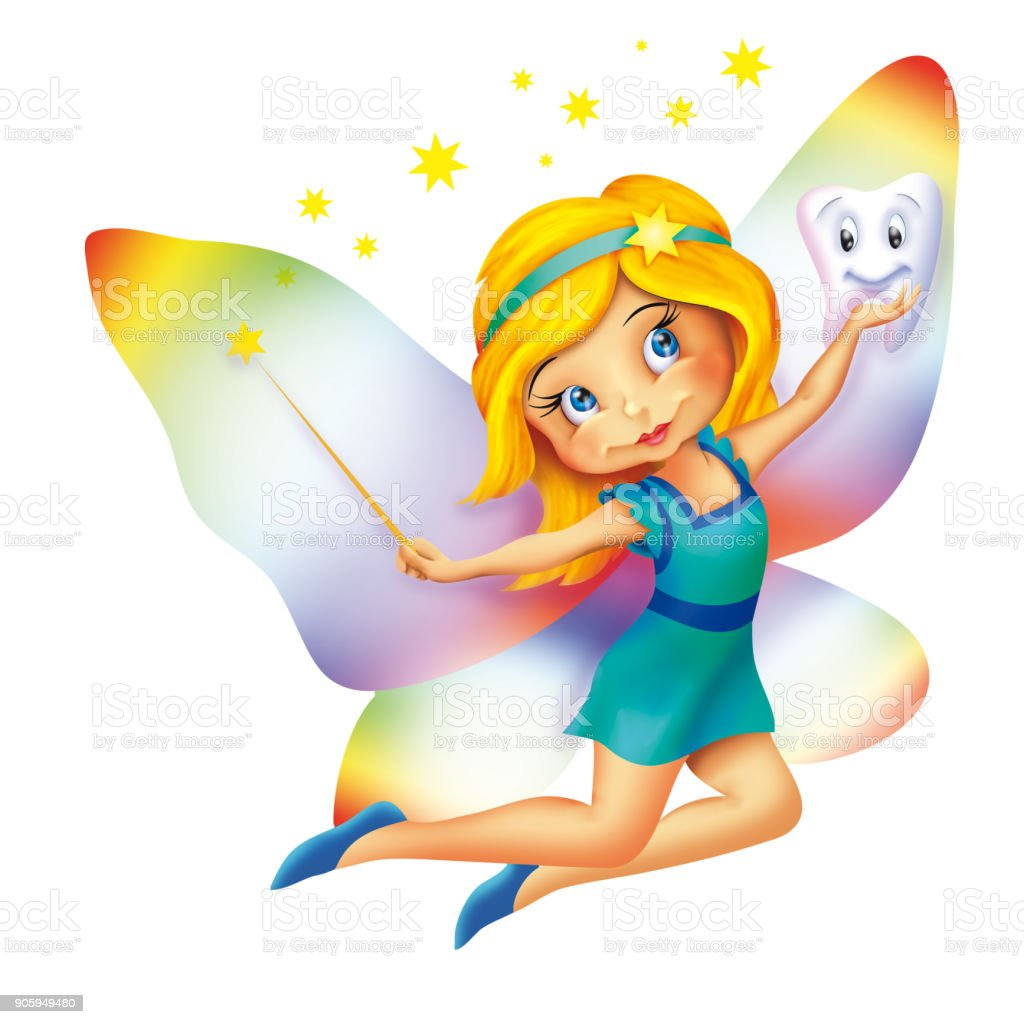 Sevimli Küçük Diş Peri Uçan çizimi Stok Vektör Sanatı Animasyon