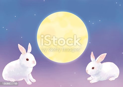 istock Illustration of a cute rabbit and moon viewing 1308822755