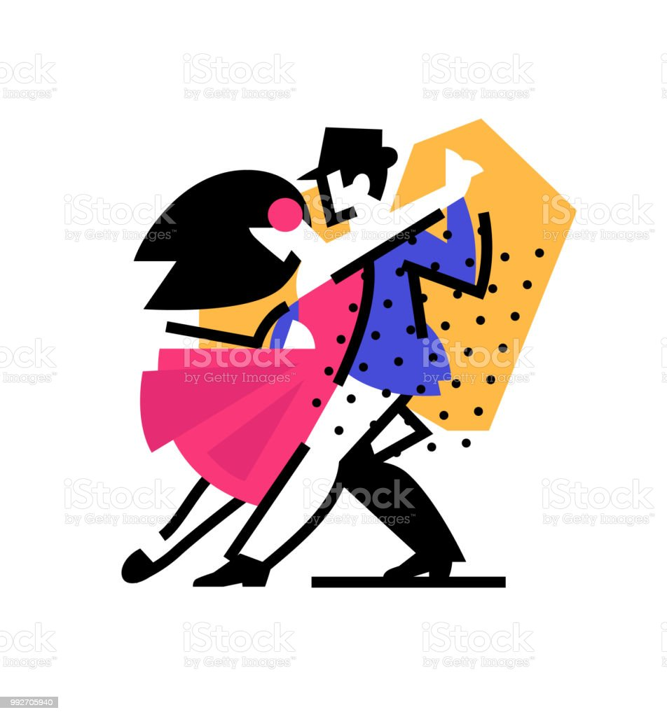 Illustration of a dancing man and woman. Icon ballroom, sports...