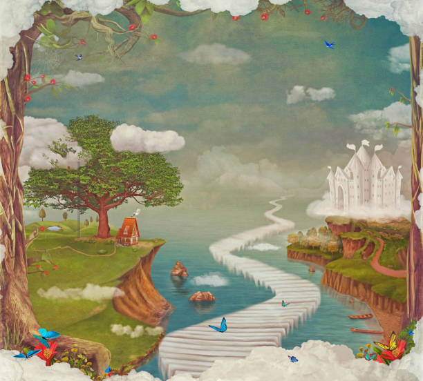 illustrazioni stock, clip art, cartoni animati e icone di tendenza di illustration of a fairytale  fantastic forest , castle, bridge, lake  in sky - personaggio fantastico