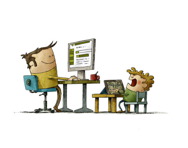 illustration of a father who is teleworking with his son, the adult is with a computer and the son with a tablet. isolated vector art illustration