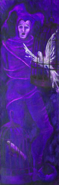 illustrations, cliparts, dessins animés et icônes de illustration d'une figure d'un homme chantant dans un costume théâtral d'un bouffon attaché avec des cordes et des oiseaux chantant dans des cages et se précipitant au portrait de liberté dans le modèle du symbolisme - cage animal nuit
