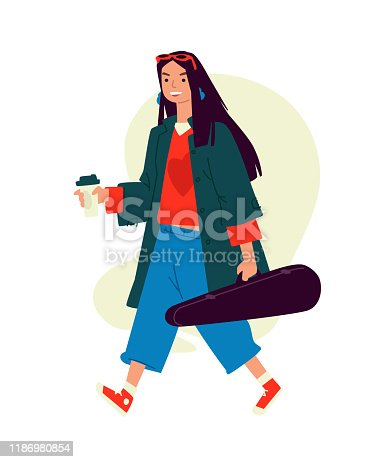 Illustration of a girl with cappuccino coffee. A woman runs to a rehearsal in the morning. Everyday musician. An invigorating morning coffee. A hired killer in a violin case carries a rifle. Flat style.