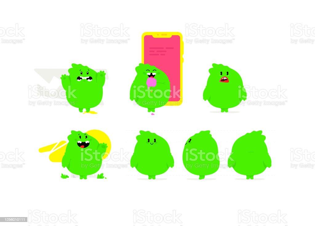 Illustration Dun Monstre Kawaii Vert Dragon Mignon De Bebe De Dessin Anime Mascotte En Caoutchouc Jouet Pour Lentreprise Caractere Pour Lanimation Emotions Dun Monstre Bon Mauvais Et Amical Vecteurs Libres De Droits
