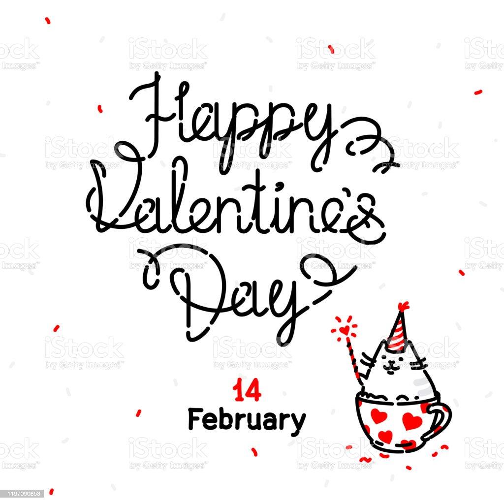 バレンタインデーの猫とのグリーティングカードのイラスト 2月14日故人の日カップにかわいい可愛いキティは幸せな休日を願っていますサイトのバナー輪郭スタイル お祝いのベクターアート素材や画像を多数ご用意 Istock
