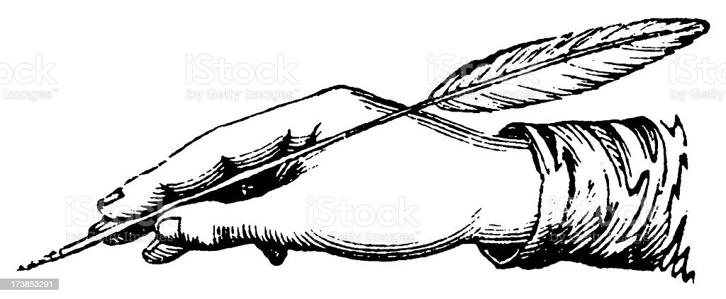 Illustration of a hand holding a quill and poised to write  royalty-free stock vector art
