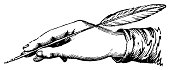 Illustration of a hand holding a quill and poised to write