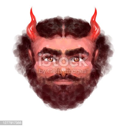 illustration of a hand-drawn faun, portrait of a mythological creature, a man with horns, a beard and red eyes. Demonic cute image.