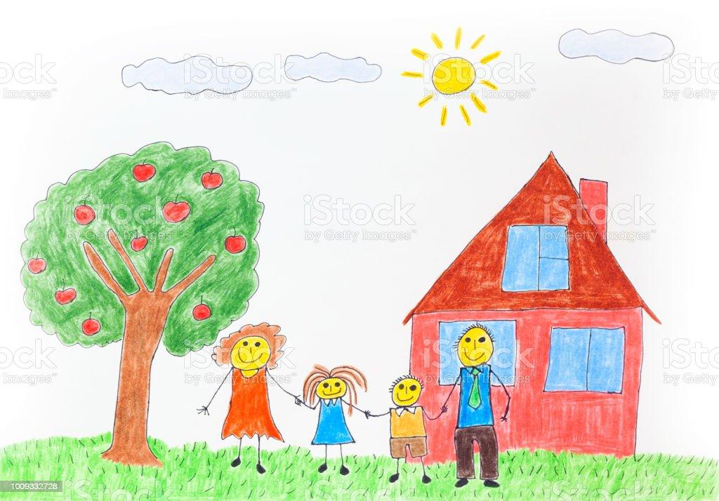 Illustration d'une famille heureuse avec un pommier et une maison - Illustration vectorielle