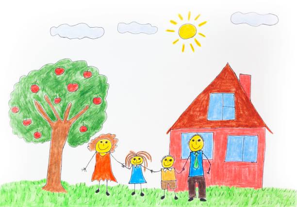 stockillustraties, clipart, cartoons en iconen met illustratie van een gelukkige familie met een appelboom en een huis - adoptie
