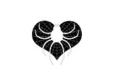 Illustration of a heart with a spider in the web